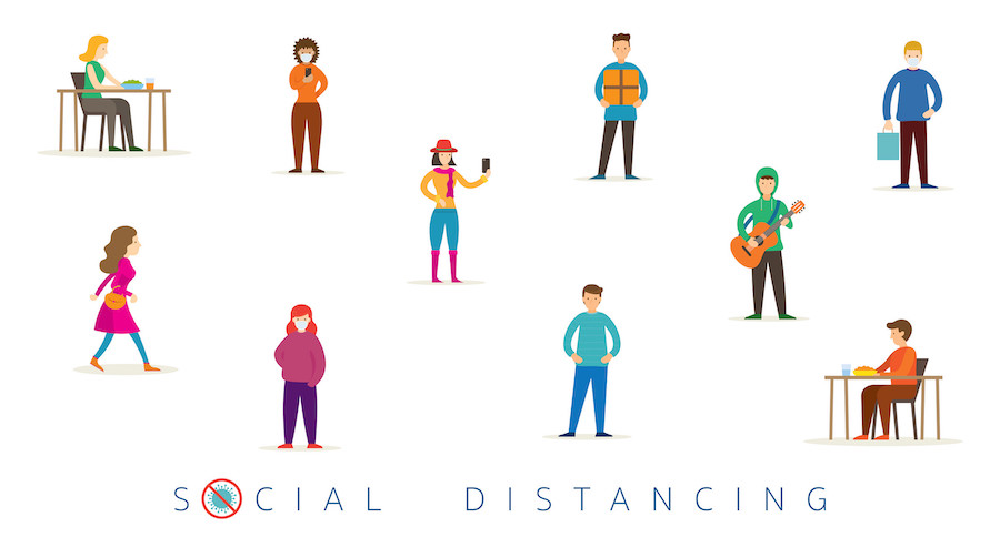Group of People in Social Distancing Concept