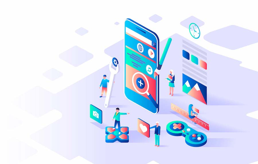 Modern flat design isometric concept of App Development for banner and website. Isometric landing page template. Mobile application, user and developer group. Vector illustration.